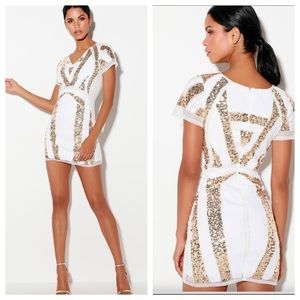 Lulu's Shine All Night White & Gold Dress. NWOT